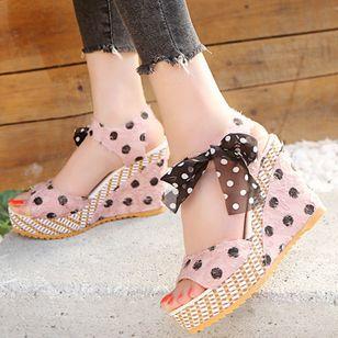 Women's Bowknot Heels Cloth Wedge Heel Sandals_1