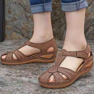 Women's Round Toe Wedge Heel Sandals_3
