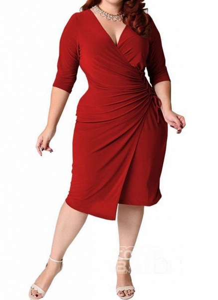 Red Plus Size Solid V-Neckline Casual Sashes Midi Plus Dress_8