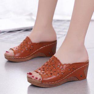 Women's Hollow-out Flower Slingbacks Wedge Heel Sandals_5