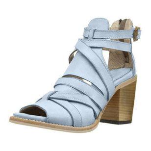 Women's Buckle Zipper Heels Chunky Heel Sandals_5
