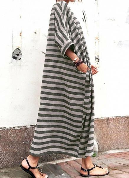 Gray Plus Size Tunic Stripe Round Neckline Casual Pockets Plus Dress_1