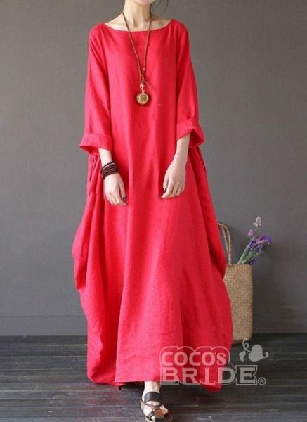 White Plus Size Tunic Solid Round Neckline Casual Maxi Plus Dress_5