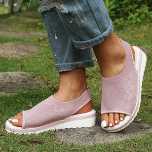 Women's Slingbacks Fabric Wedge Heel Sandals_2