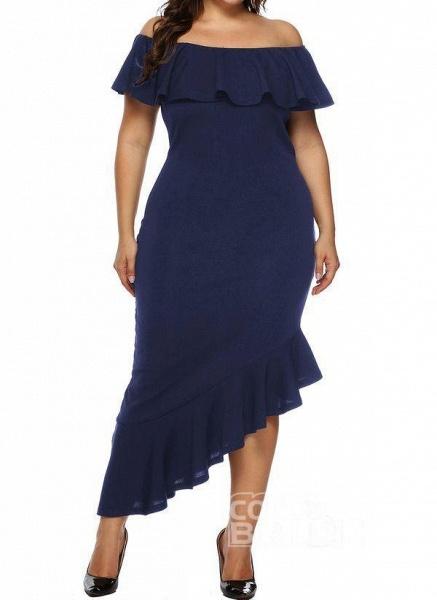 Black Plus Size Pencil Solid Off the Shoulder Elegant Ruffles Plus Dress_7
