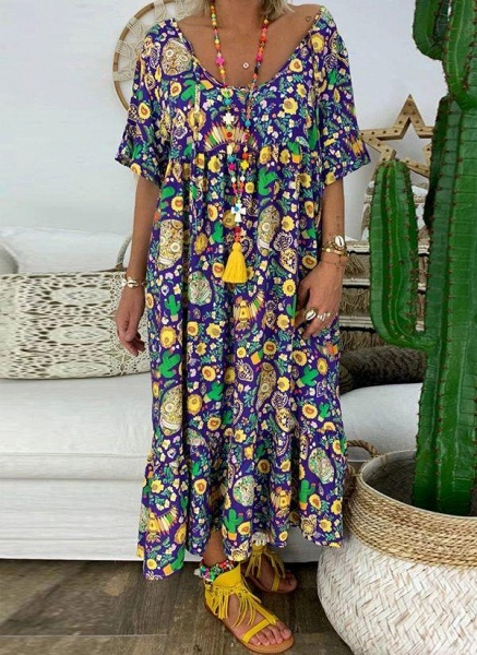 Purple Plus Size Tunic Floral V-Neckline Casual Midi Plus Dress_3
