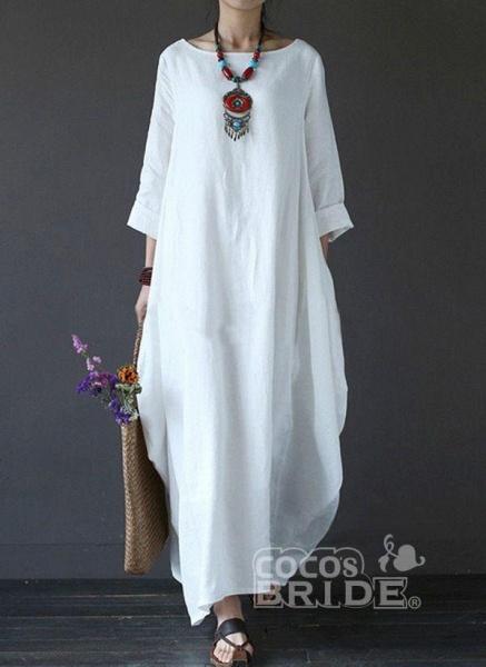 White Plus Size Tunic Solid Round Neckline Casual Maxi Plus Dress_3