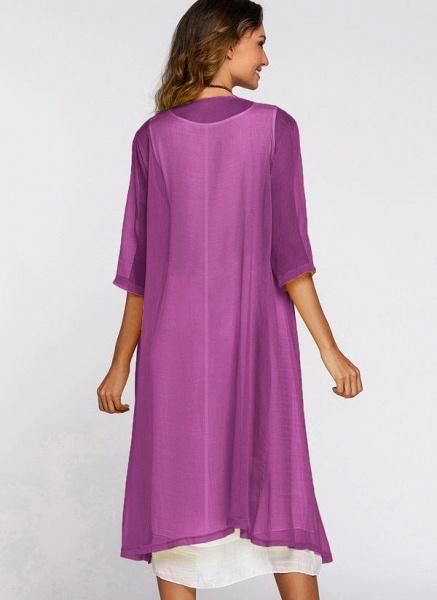 Floral Wrap Round Neckline Midi X-line Dress_8