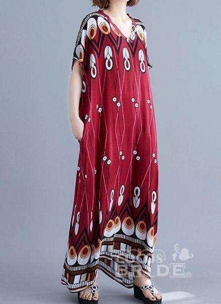 Burgundy Plus Size Tunic Geometric V-Neckline Casual Knee-Length Plus Dress_4