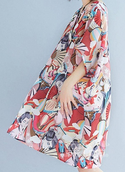 Pink Plus Size Tunic Color Block Round Neckline Casual Above Knee Plus Dress_5