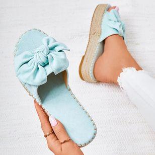 Women's Bowknot Flats Nubuck Flat Heel Sandals_4