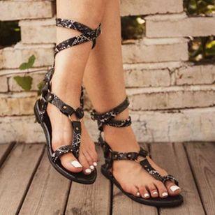 Women's Leopard Buckle Toe Ring Flat Heel Sandals_3