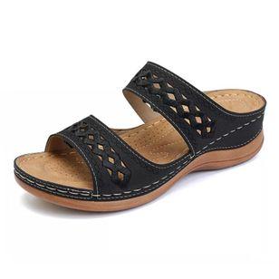 Women's Hollow-out Flats Low Heel Sandals_5