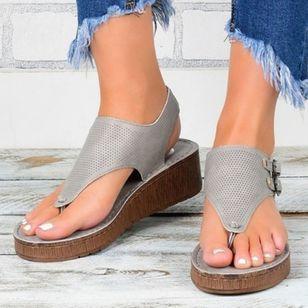 Women's Buckle Flip-Flops Cloth Wedge Heel Sandals Platforms_3