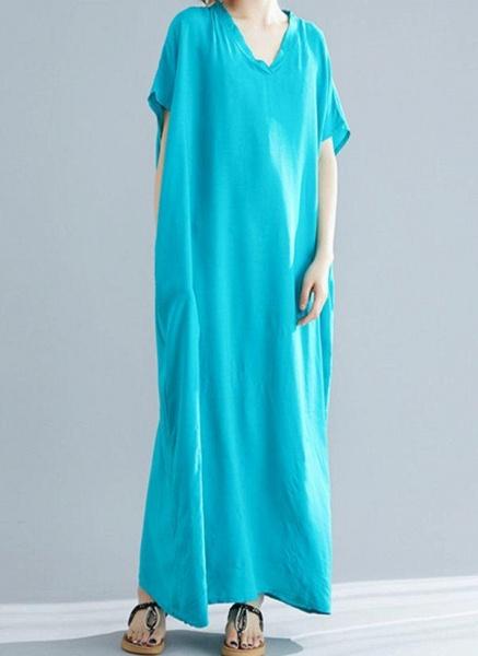 Royal Blue Plus Size Tunic Solid V-Neckline Casual Maxi Plus Dress_4