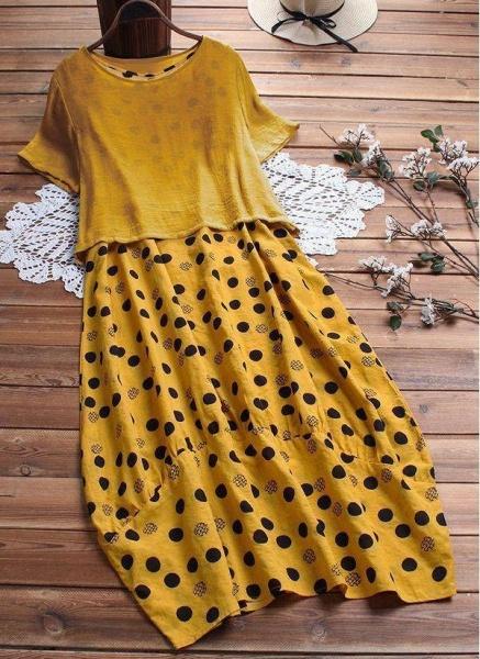 Yellow Plus Size Tunic Polka Dot Round Neckline Casual Maxi Plus Dress_1