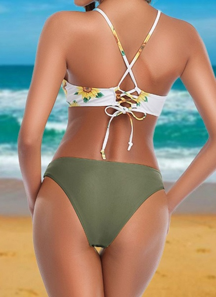 Polyester Pattern Floral Bikinis Swimwear_4