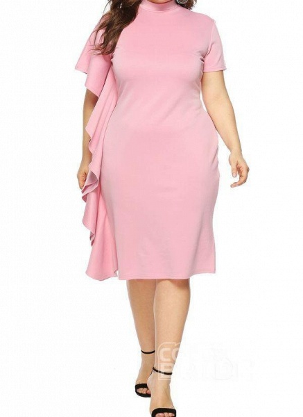 Pink Plus Size Solid Round Neckline Casual Ruffles Knee-Length Plus Dress_3