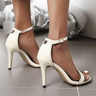 Women's Buckle Heels Patent Leather Stiletto Heel Sandals_4