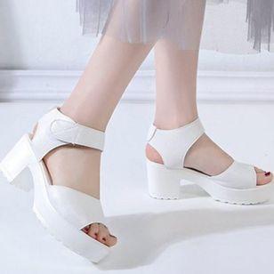 Women's Velcro Ankle Strap Slingbacks Chunky Heel Sandals_2