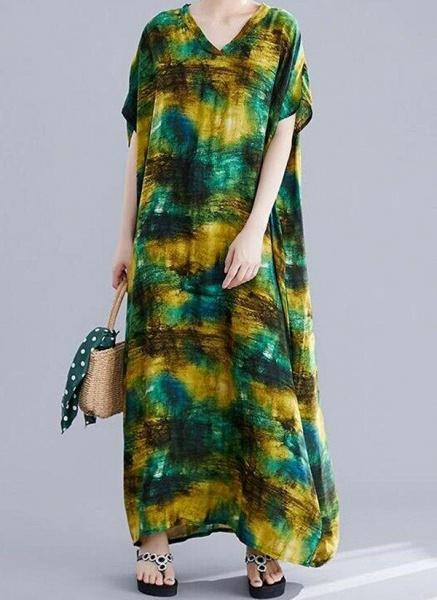 Green Plus Size Tunic Color Block V-Neckline Casual Maxi Plus Dress_2