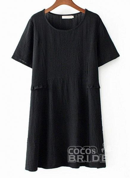 Dark Blue Plus Size Tunic Solid Round Neckline Casual Above Knee Plus Dress_3
