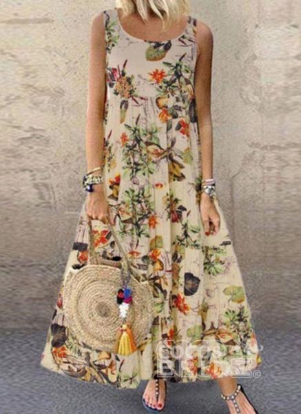 Green Plus Size Tunic Floral Round Neckline Casual Maxi Plus Dress_5