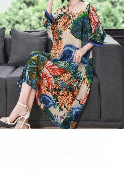 Green Plus Size Tunic Floral V-Neckline Casual Midi Plus Dress_2