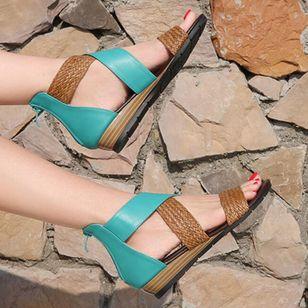 Women's Braided Strap Split Joint Heels Wedge Heel Sandals_1