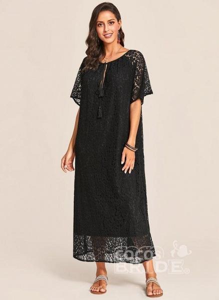 Black Plus Size Tunic Solid V-Neckline Casual Lace Plus Dress_2