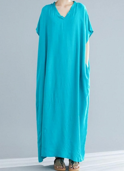 Royal Blue Plus Size Tunic Solid V-Neckline Casual Maxi Plus Dress_14