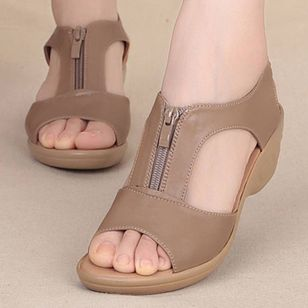 Women's Zipper Peep Toe Low Heel Sandals_2