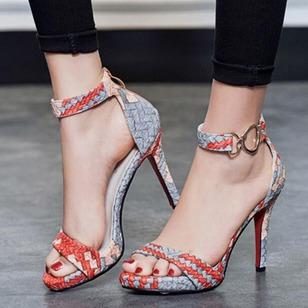 Women's Knit Leatherette Stiletto Heel Sandals_2