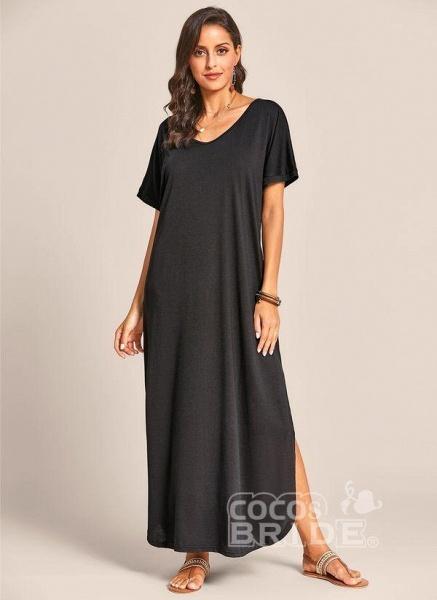 Royal Blue Plus Size Solid V-Neckline Casual Maxi Plus Dress_9