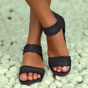 Women's Zipper Leatherette Low Heel Sandals_5