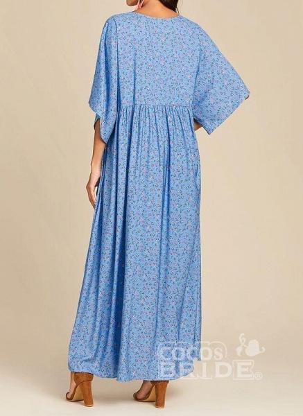 Blue Plus Size Color Block V-Neckline Casual Maxi Shift Dress Plus Dress_4