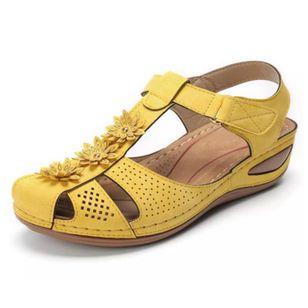 Women's Flower Slingbacks Nubuck Flat Heel Sandals_3