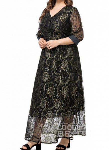 White Plus Size Floral V-Neckline Casual Maxi X-line Dress Plus Dress_2