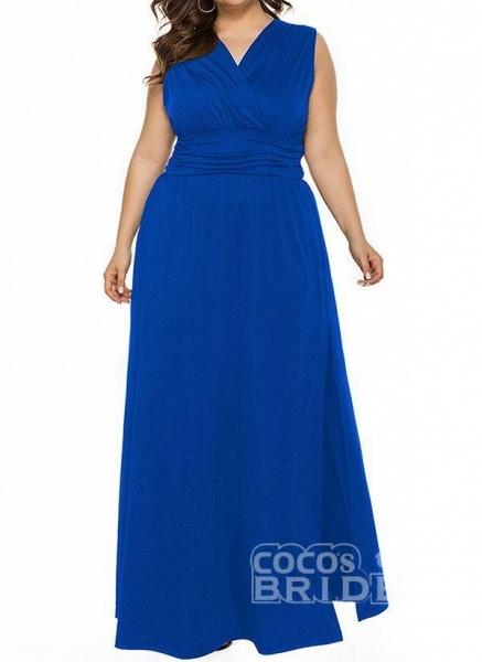 Blue Plus Size Solid V-Neckline Casual Ruffles Maxi Plus Dress_7
