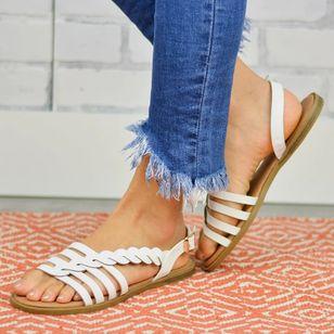 Women's Knit Round Toe Flat Heel Sandals_4