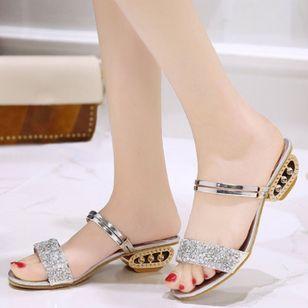 Women's Sparkling Glitter Slingbacks Low Heel Sandals_2
