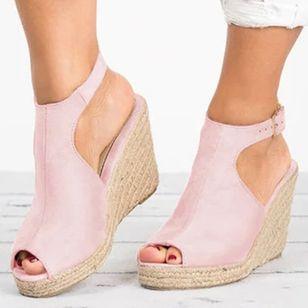 Women's Buckle Peep Toe Heels Nubuck Wedge Heel Sandals_2