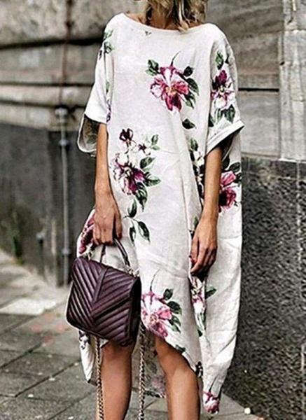White Plus Size Tunic Floral Round Neckline Boho Midi Plus Dress_1
