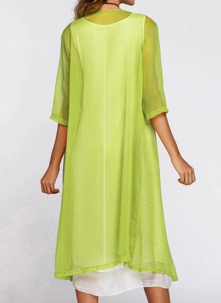 Floral Wrap Round Neckline Midi X-line Dress_4