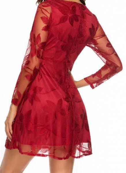 Casual Floral Skater V-Neckline X-line Dress_1