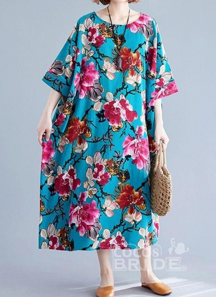 Blue Plus Size Tunic Floral Round Neckline Casual Midi Plus Dress_5