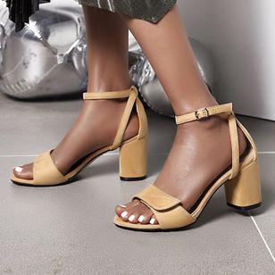 Women's Buckle Modern Nubuck Chunky Heel Sandals_2