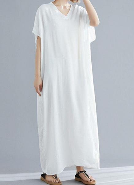 Royal Blue Plus Size Tunic Solid V-Neckline Casual Maxi Plus Dress_7