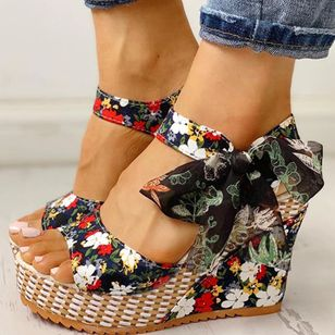 Women's Bowknot Lace-up Flower Slingbacks Cloth Wedge Heel Sandals_1
