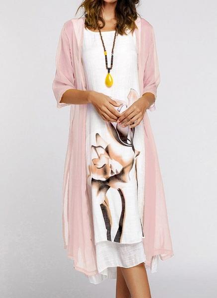 Floral Wrap Round Neckline Midi X-line Dress_18